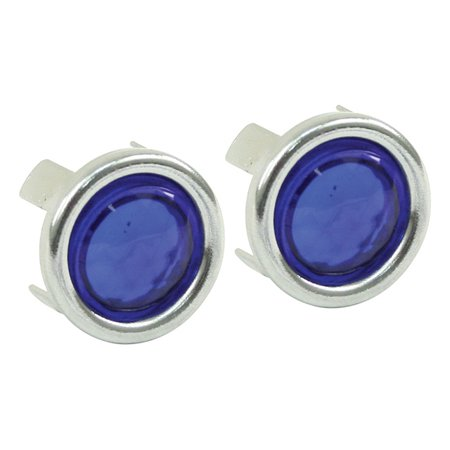 BLUE DOTS. WITH CHROME RING. PAIR