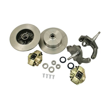 VW BEETLE Front Disc Brake Kit, BLANK ROTORS, w/ Drop spindles