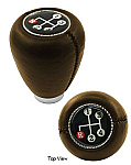 Shift knob brown vinyl w/ 4 speed shift pattern