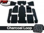 TMI Carpet Kit 10pc Bug 68-70 RHD w/Footrest Premium Charcoal Loop W/binding