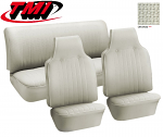 TMI VW Seat Upholstery, 1971-72 Bug, Front & rear, Basketweave Vinyl off white