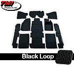 TMI Carpet Kit 10pc Bug 68-78 RHD W/Footrest Premium Black Loop W/binding
