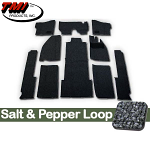 TMI Carpet Kit 10pc Bug 74-78 RHD with Binding, w/out footrest, Heater Grommets, Salt & Pepper Loop