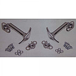 Latch set for hood or deck lid - baja style chrome metal pair