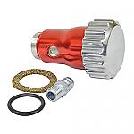 Oil filler powder-coated Red aluminum w/ Billet screw on cap - vented