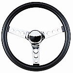 "VW Steering Wheel 13-1/2 - 3 1/2"" Dish  Foam grip Chrome spoke"