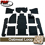 TMI Carpet Kit 10pc Bug 68-78 RHD W/Footrest OATMEAL Premium Loop with binding