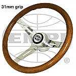 Classic Wood Steering Wheel 31mm grip with Boss Kit Bug & Ghia  Type 2 & Type 3