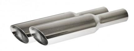 Chrome Slanted baffled Exhaust tip PAIR