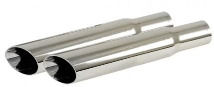 Diagonal Cut Exhaust Tip Chrome PAIR