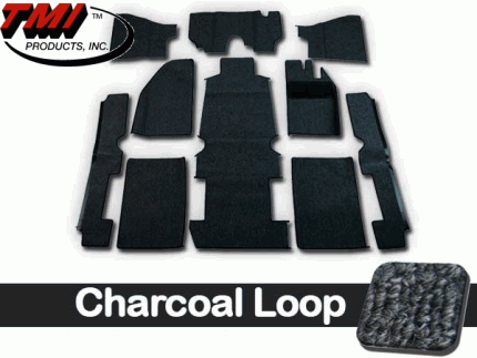TMI Carpet Kit 10pc Bug 68-70 RHD w/Footrest Premium Charcoal Loop W/binding