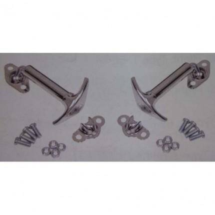 Latch set for hood or deck lid - baja style chrome metal pair