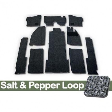 TMI Carpet Kit 10pc Bug 68-70 RHD with Binding, w/out footrest, Heater Grommets, Salt & Pepper Loop