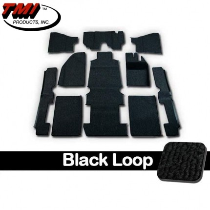 TMI Carpet Kit 10pc Bug 68-70 RHD w/Footrest Premium Black Loop W/binding