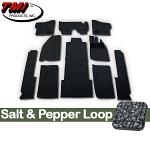 TMI Carpet Kit 10pc Bug 74-78 RHD with Binding, w/out footrest, Heater Grommets, Salt & Pepper Loop
