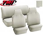 TMI VW Seat Upholstery, 1969-70 Bug, Front & rear, Basketweave Vinyl off white