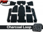 TMI Carpet Kit 10pc Bug 58-67 RHD with Binding w/o/Footrest Heater Grommets Charcoal Premium loop