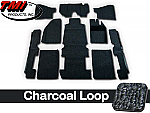 TMI Carpet Kit 10pc Super Bug 71-74 RHD with Binding, w/footrest, Charcoal Premium Loop