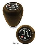 Shift knob brown vinyl w/ 4 speed shift pattern