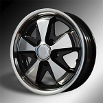 911 Porsche Fuchs style alloys Gloss BLACK W/Polished SILVER 5x130