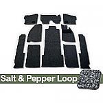 TMI Carpet Kit 10pc Bug 68-70 RHD with Binding, w/out footrest, Heater Grommets, Salt & Pepper Loop